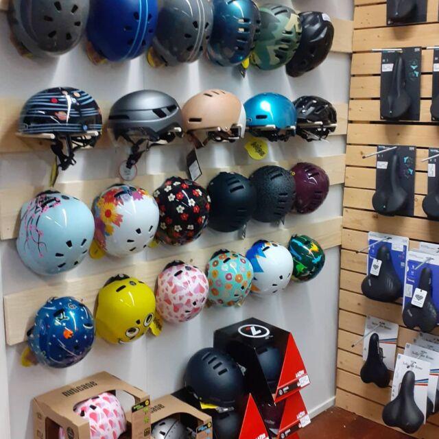 How do you like our new helmet wall? From babies to large, we have something suitable for everyone! #kypärä #bikehelmet #turvallisuus #nutcasehelmets #lazerhelmets